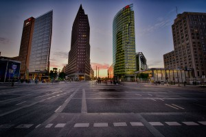 Sonnenuntergang am Potsdamer Platz
