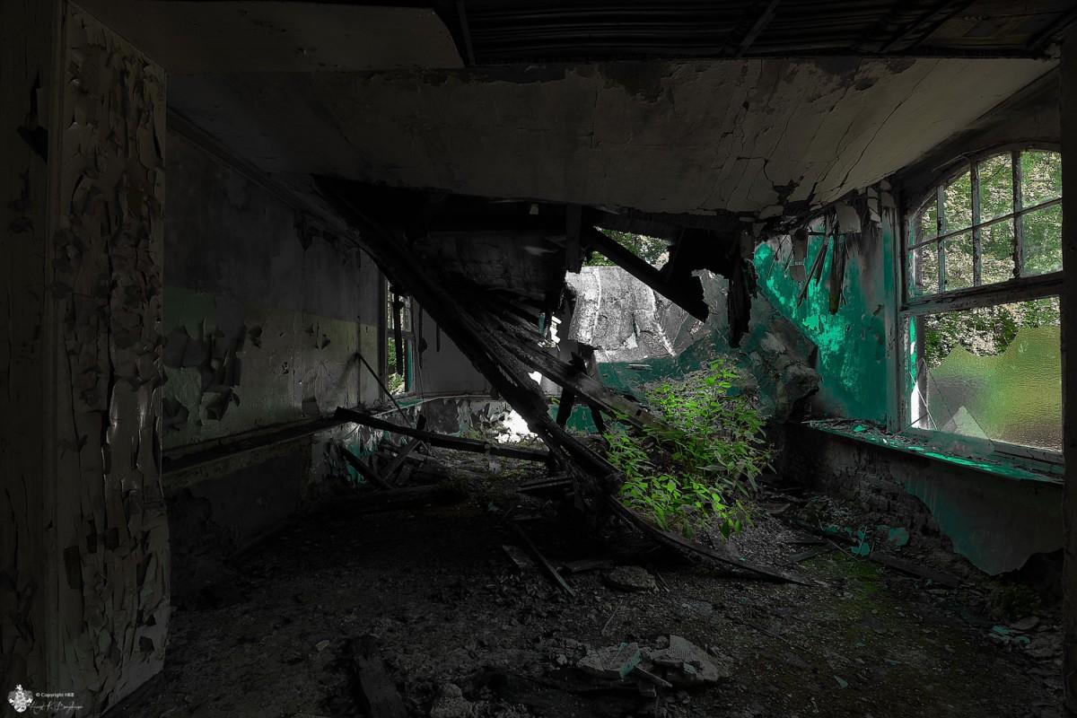 eingestürzte Decke in Heilstätten Hohenlychen