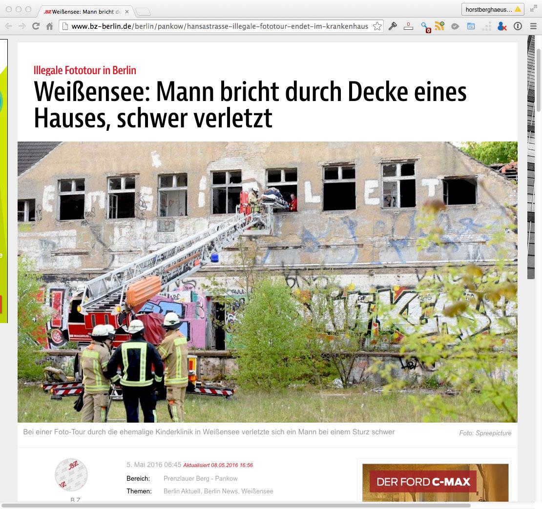 illegale Fototour zum Kinderkrankenhaus Weißensee