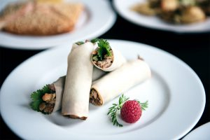 Food-Fotografie Röllchen mit Himbeere